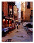 Street Cafe After Rain Venice by Haixia Liu art print